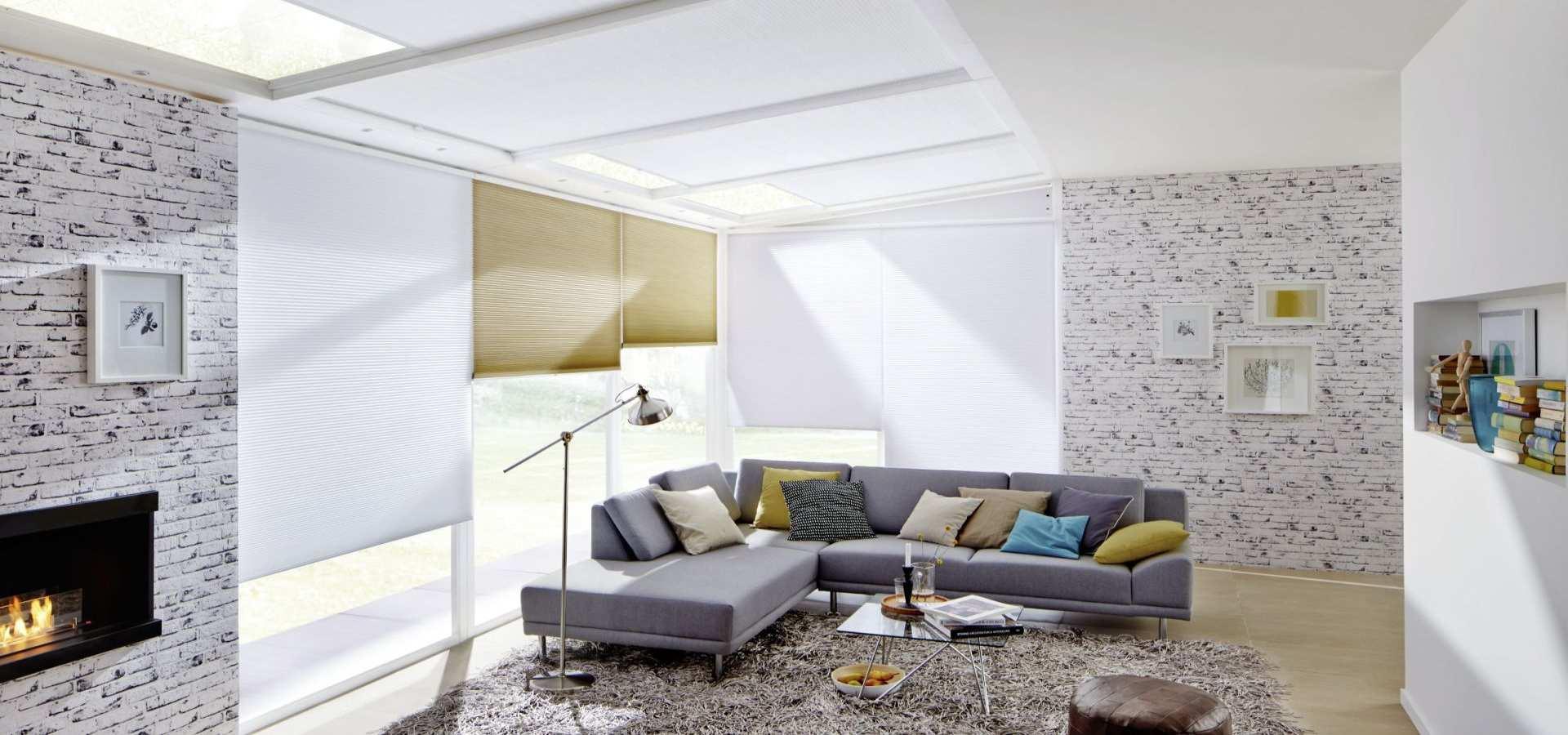 Wohnzimmer Sonnenschutz Plissee Duette weiß
