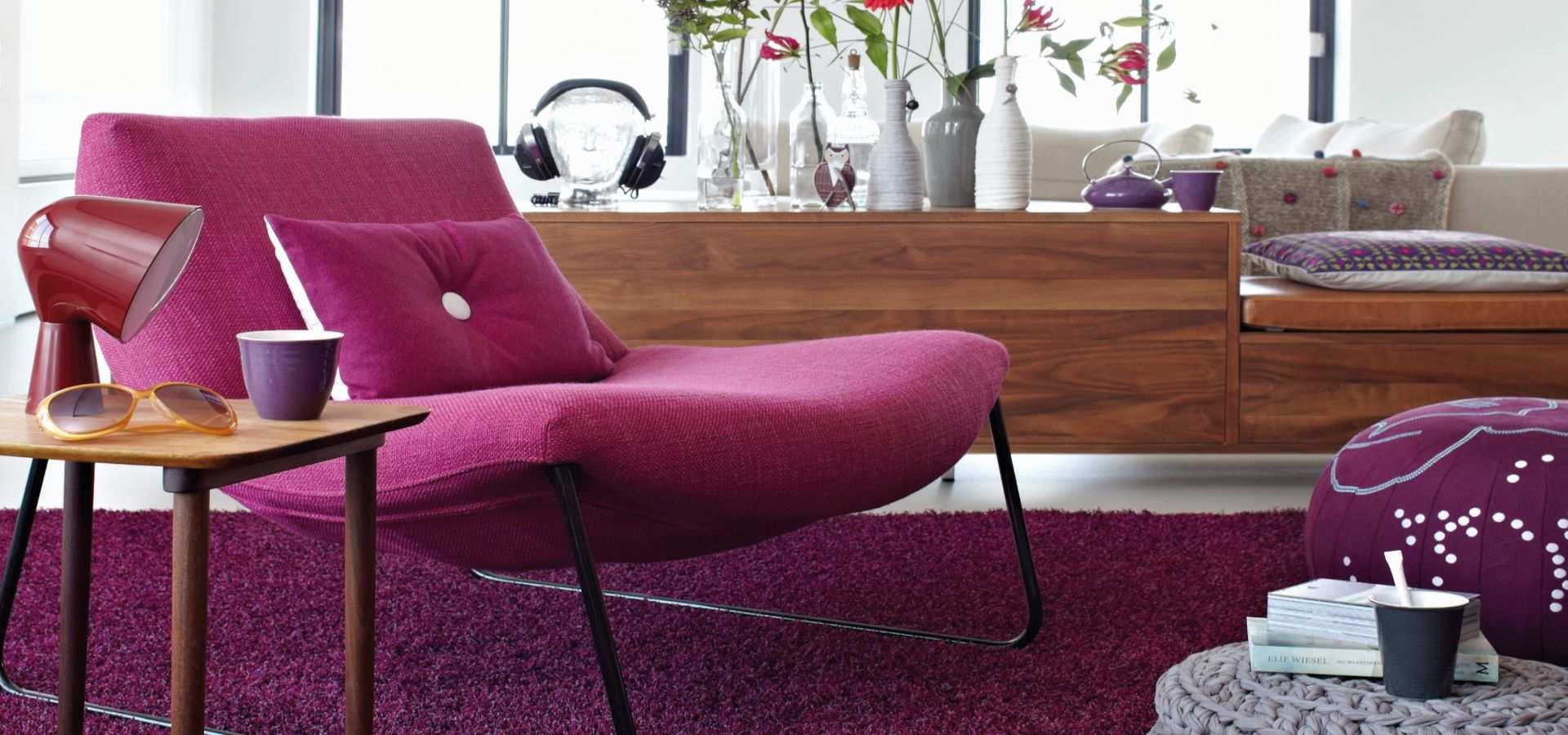 Wohnzimmer Teppichboden Chinchilla lila