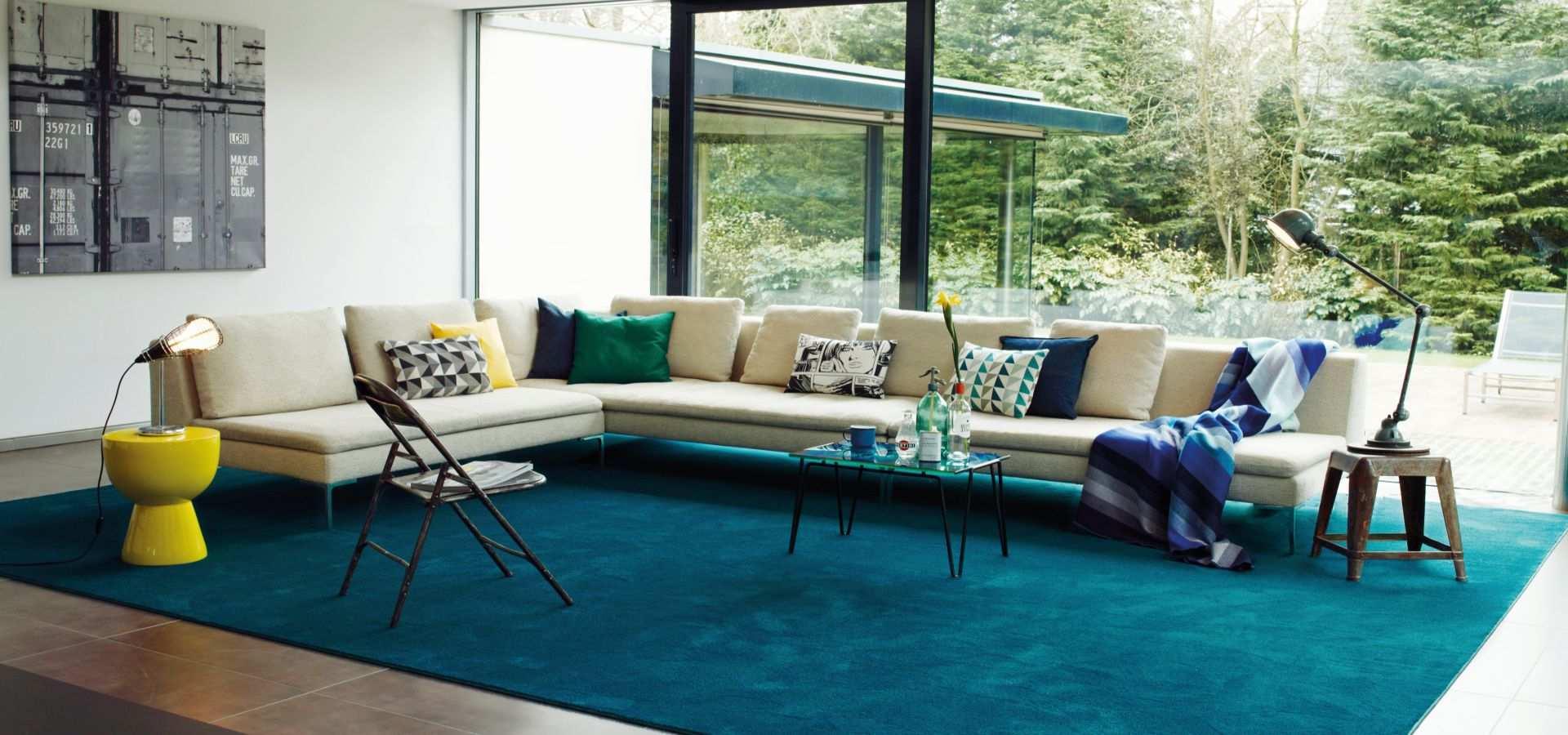 Bild Wohnzimmer Teppichboden Soft Touch türkis