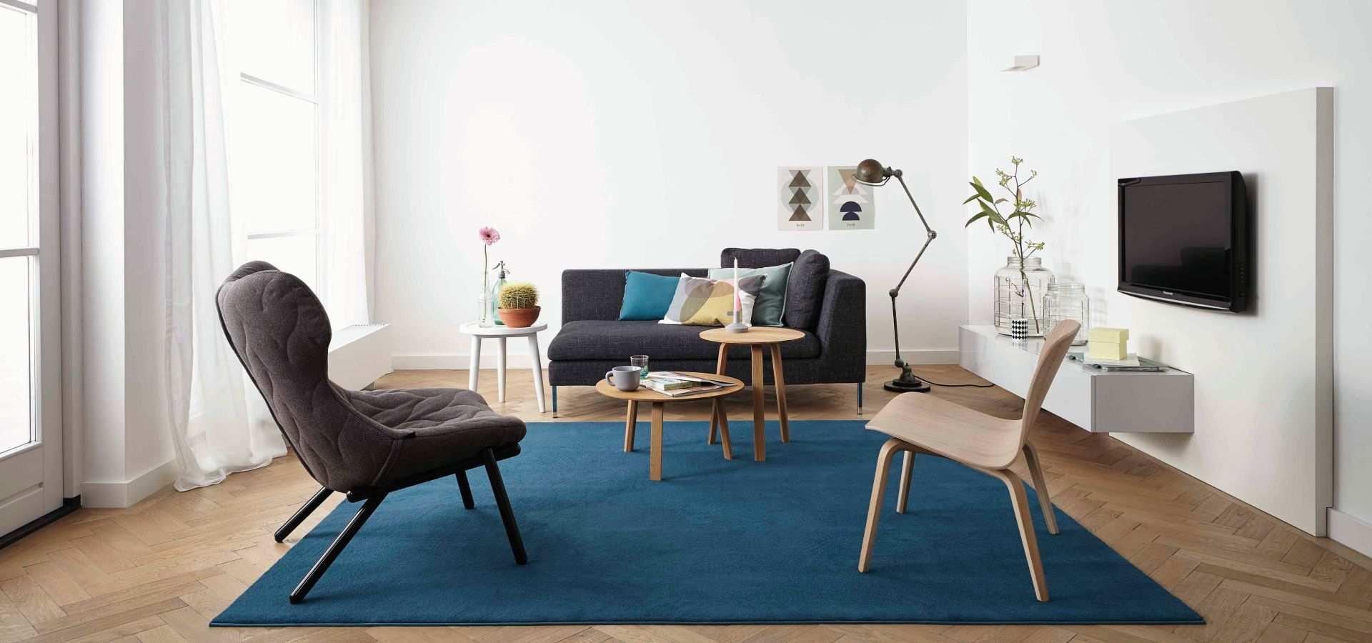 Bild Wohnzimmer Teppich Soft türkis