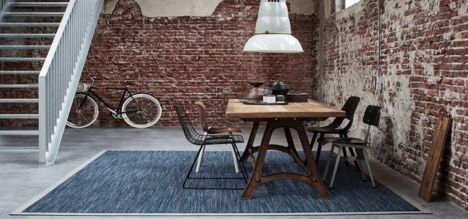 Wohnzimmer-Esszimmer Teppich Denim