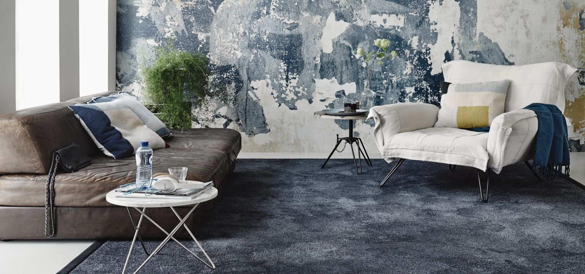 Wohnzimmer Teppichboden Soft Touch lila batik
