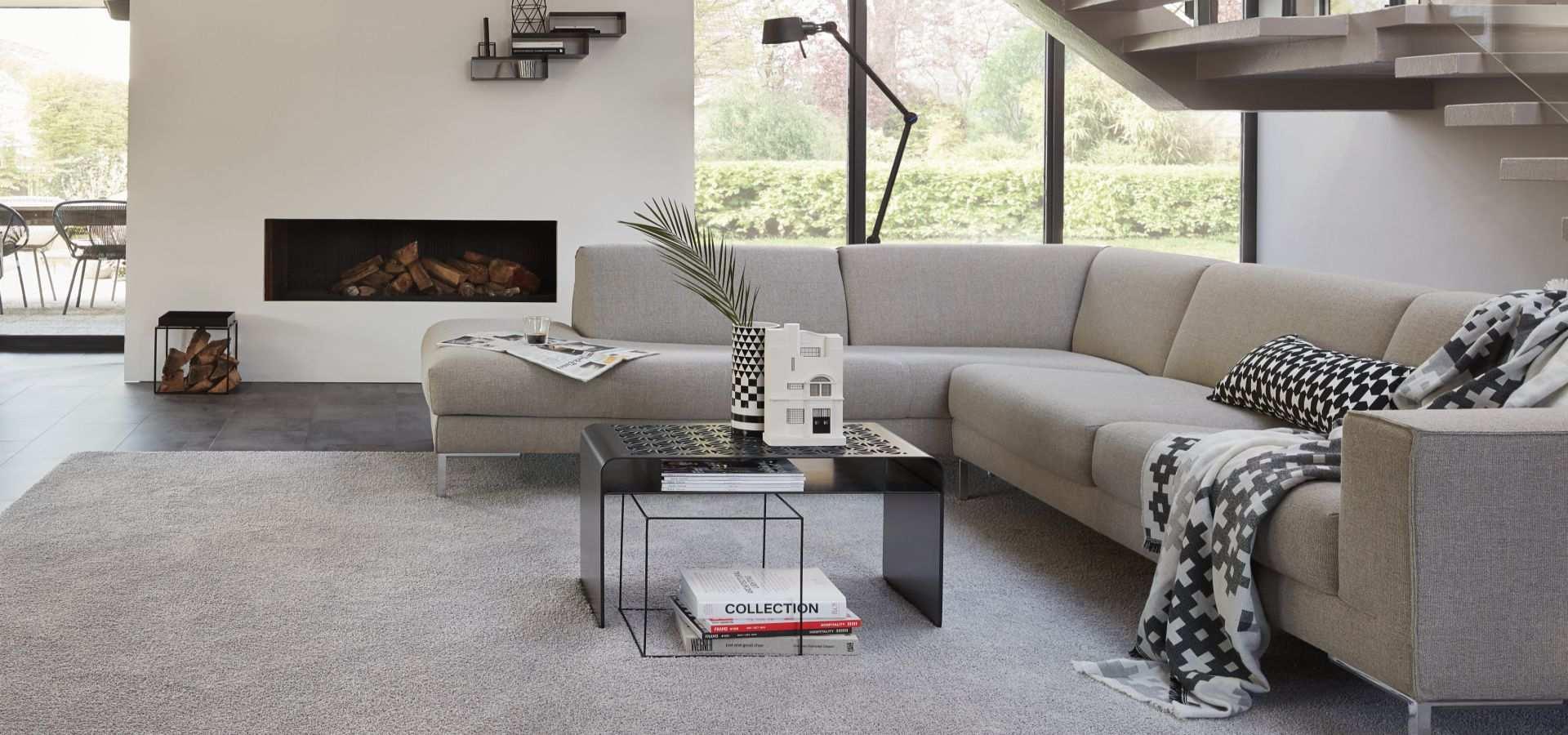 Bild Wohnzimmer Teppichboden Soft Touch grau meliert