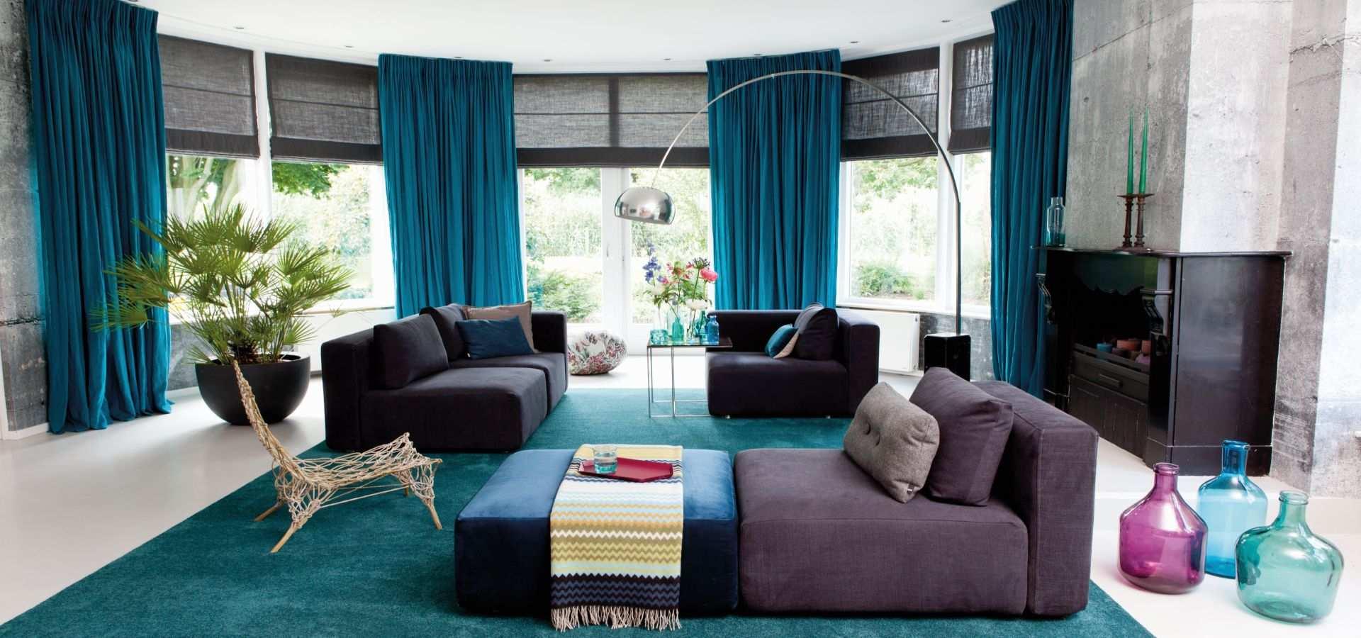 Bild Wohnzimmer modern Teppichboden Soft Touch türkis mit schwar