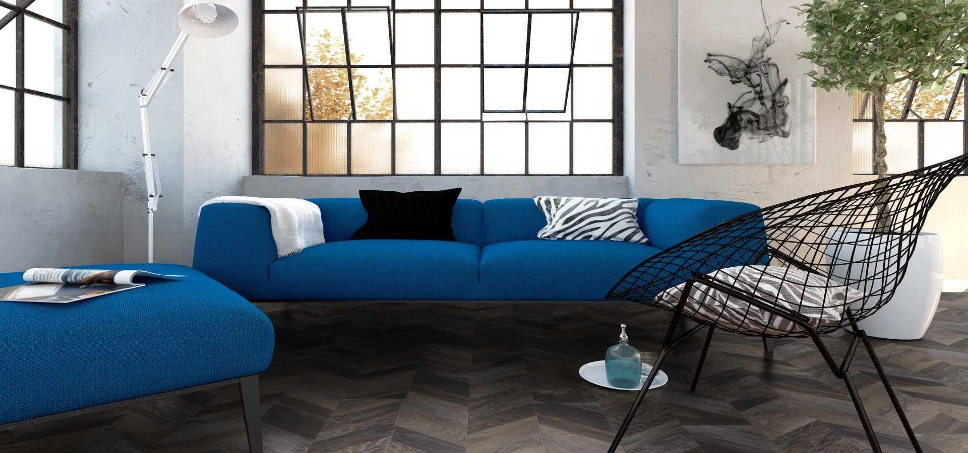 Wohnen Designbelag Fishgrat Holzplanken Wohnzimmer