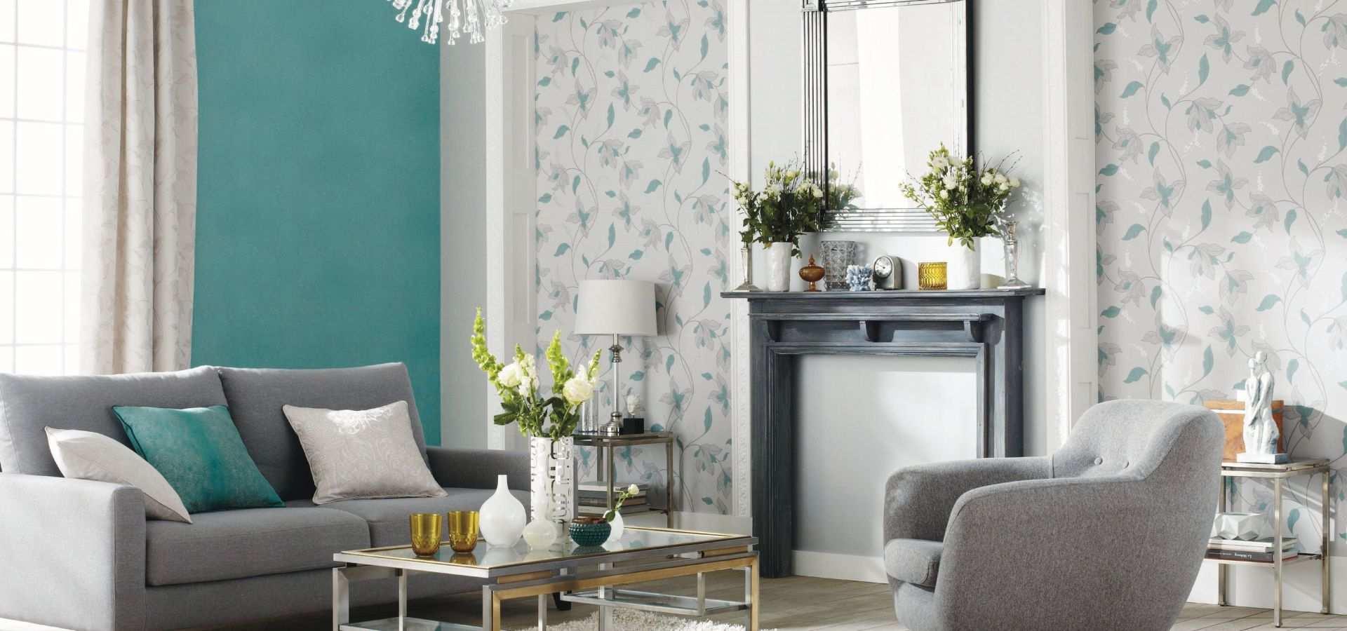 Bild Tapete Wohnzimmer mint weiß