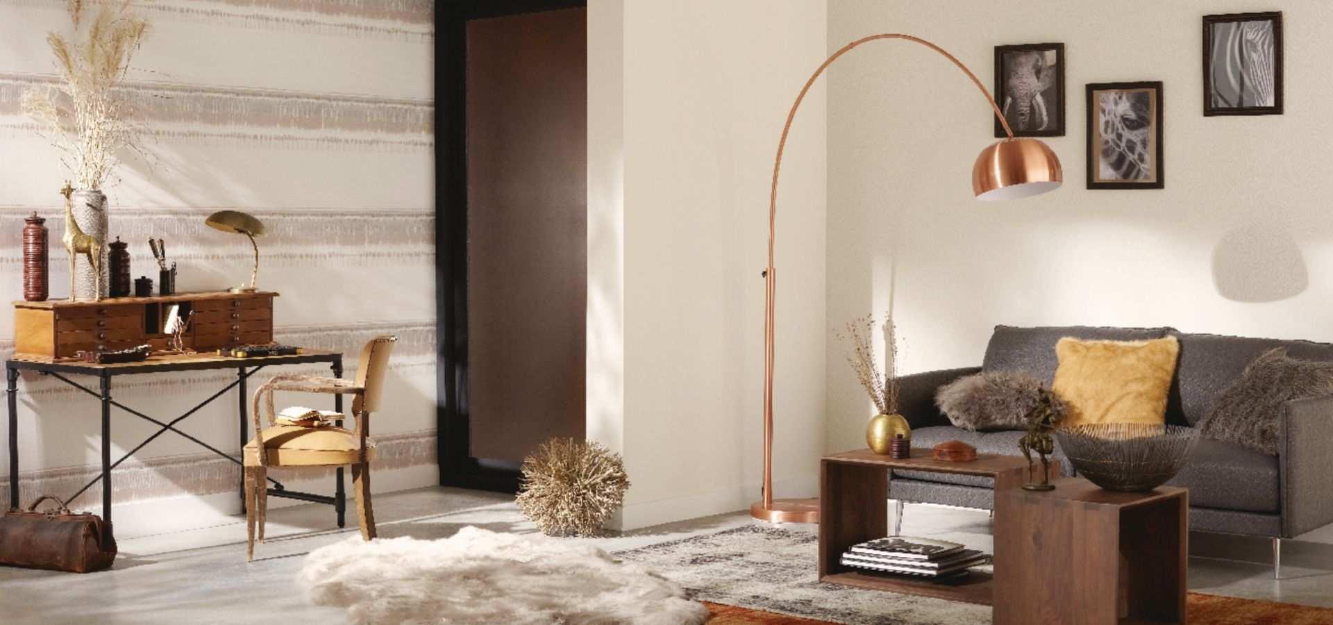 Bild Tapete Wohnzimmer beige Streifen