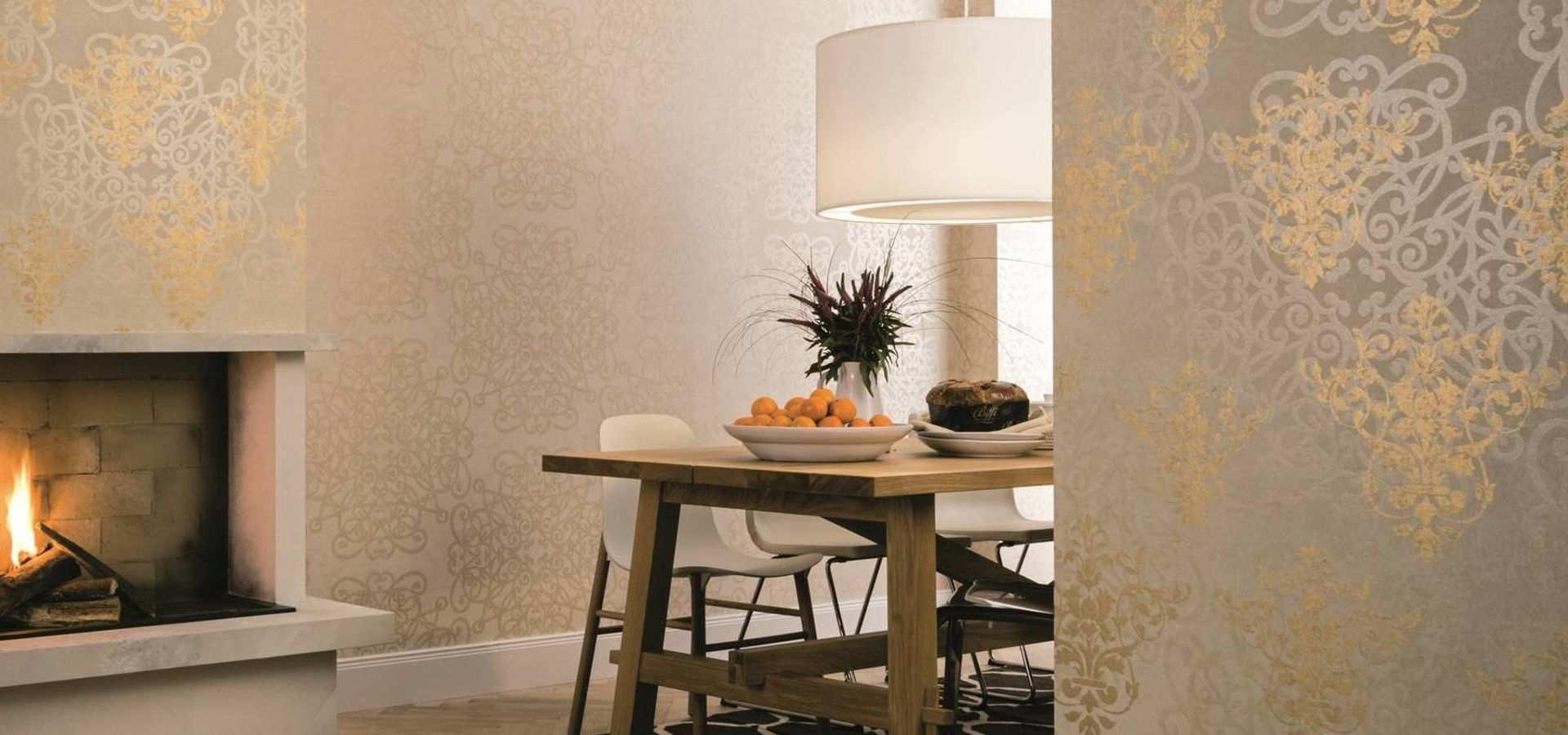 Bild Tapete gold mit Blumenornamenten