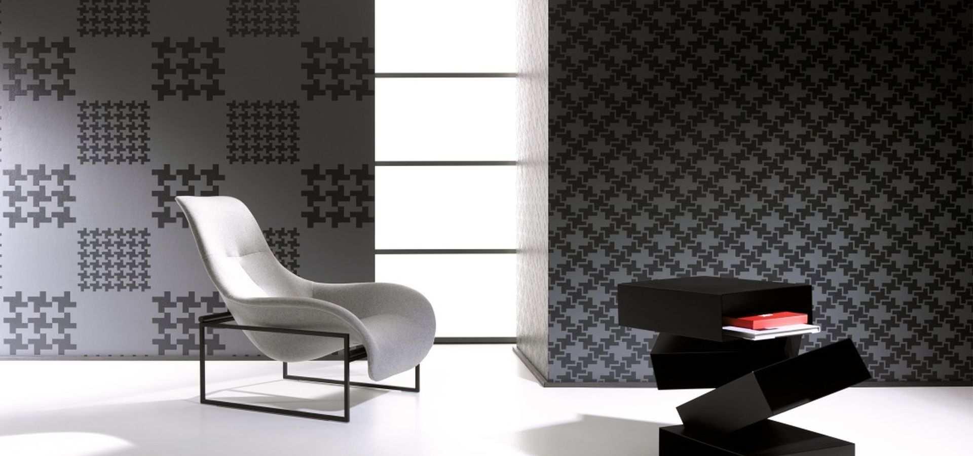 Bild Tapete Wohnzimmer grafisch schwarz