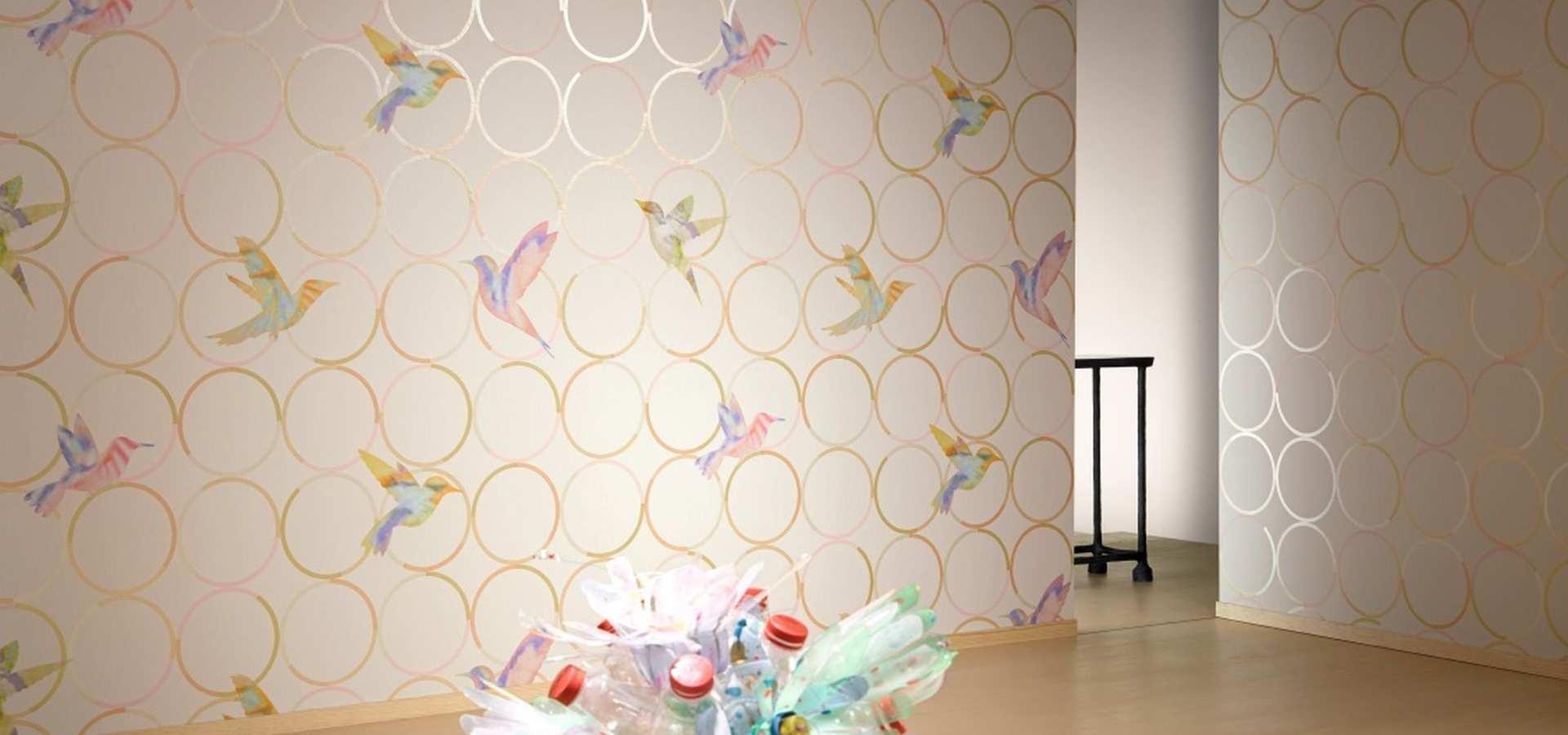 Bild Tapete Wohnzimmer beige Schwalben
