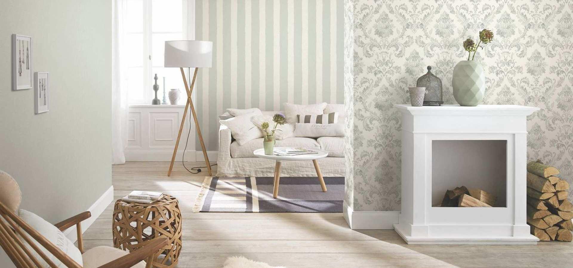 Bild Tapete Wohnzimmer klassisch weiß grün