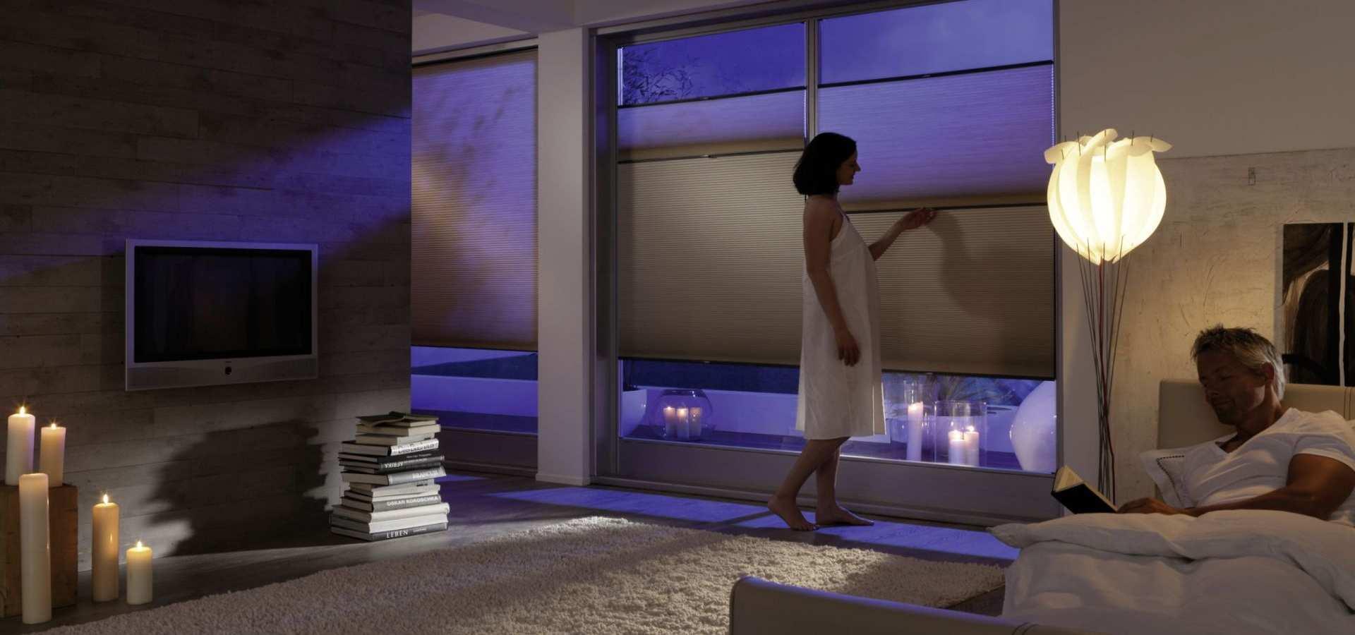 Schlafzimmer Sonnenschutz Plissee Duette bunt