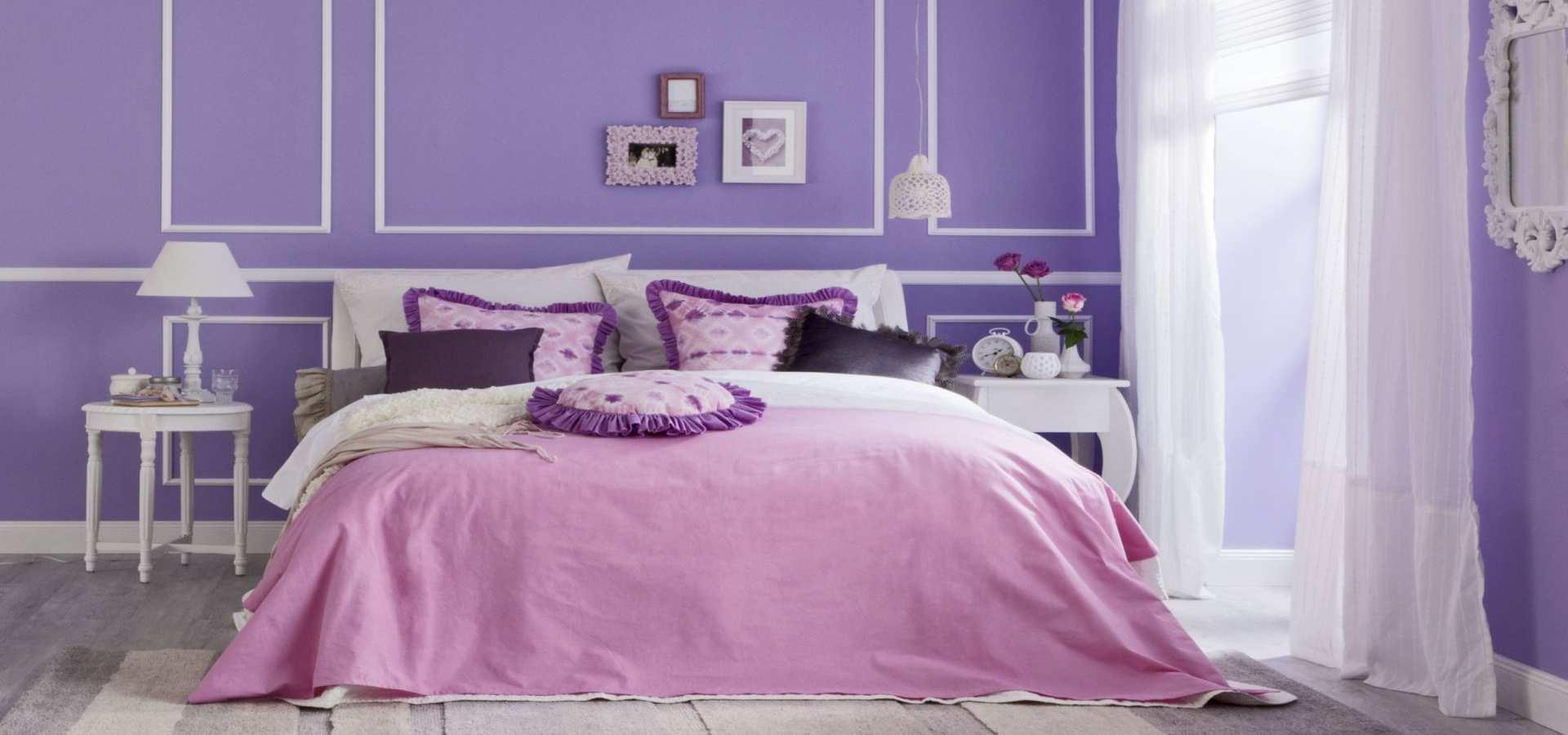 Bild Schlafzimmer in Lila