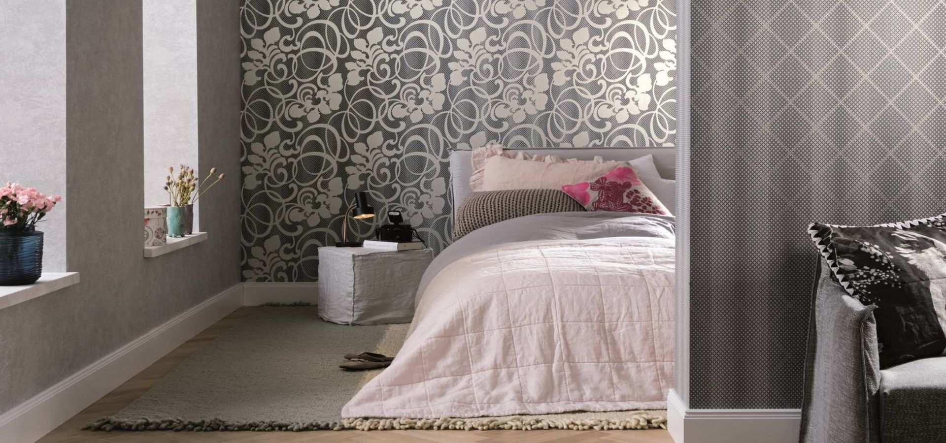 Bild Schlafzimmer Tapete Ornament grau