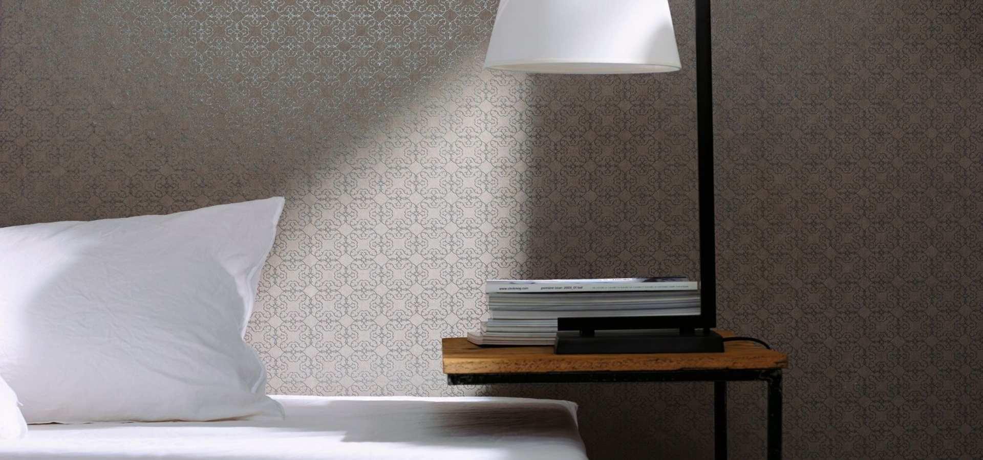 Bild Schlafzimmer Tapete uni taupe