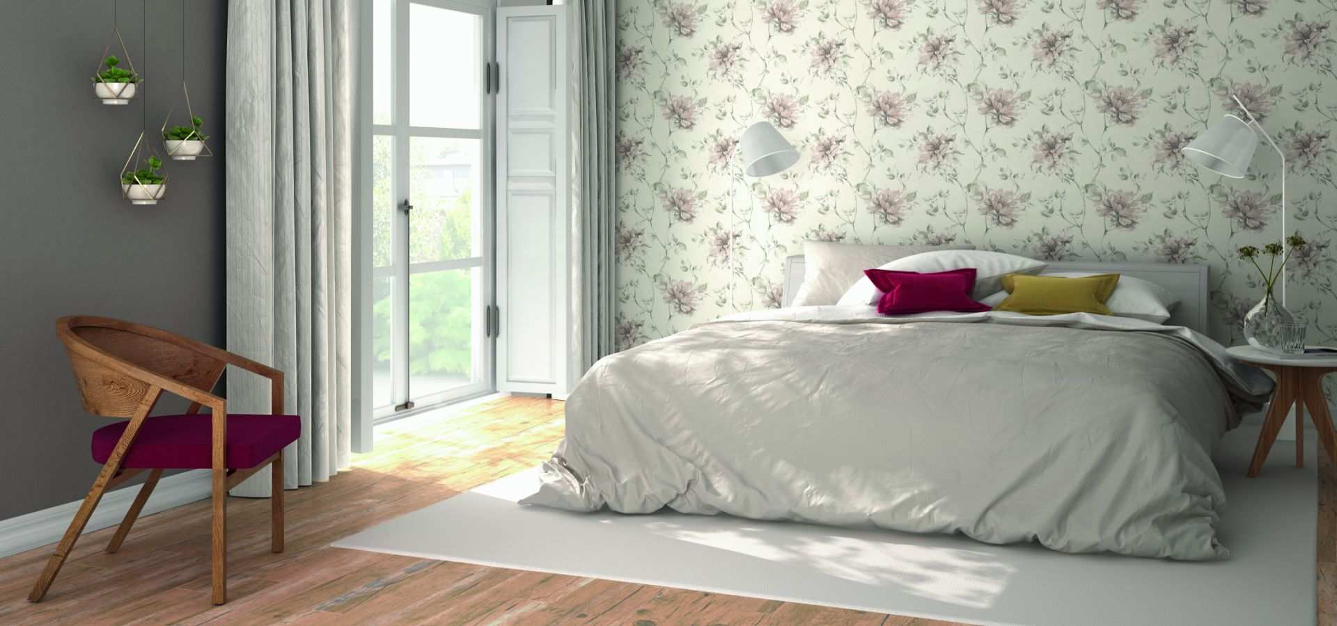 Bild Schlafzimmer Tapete floral beige
