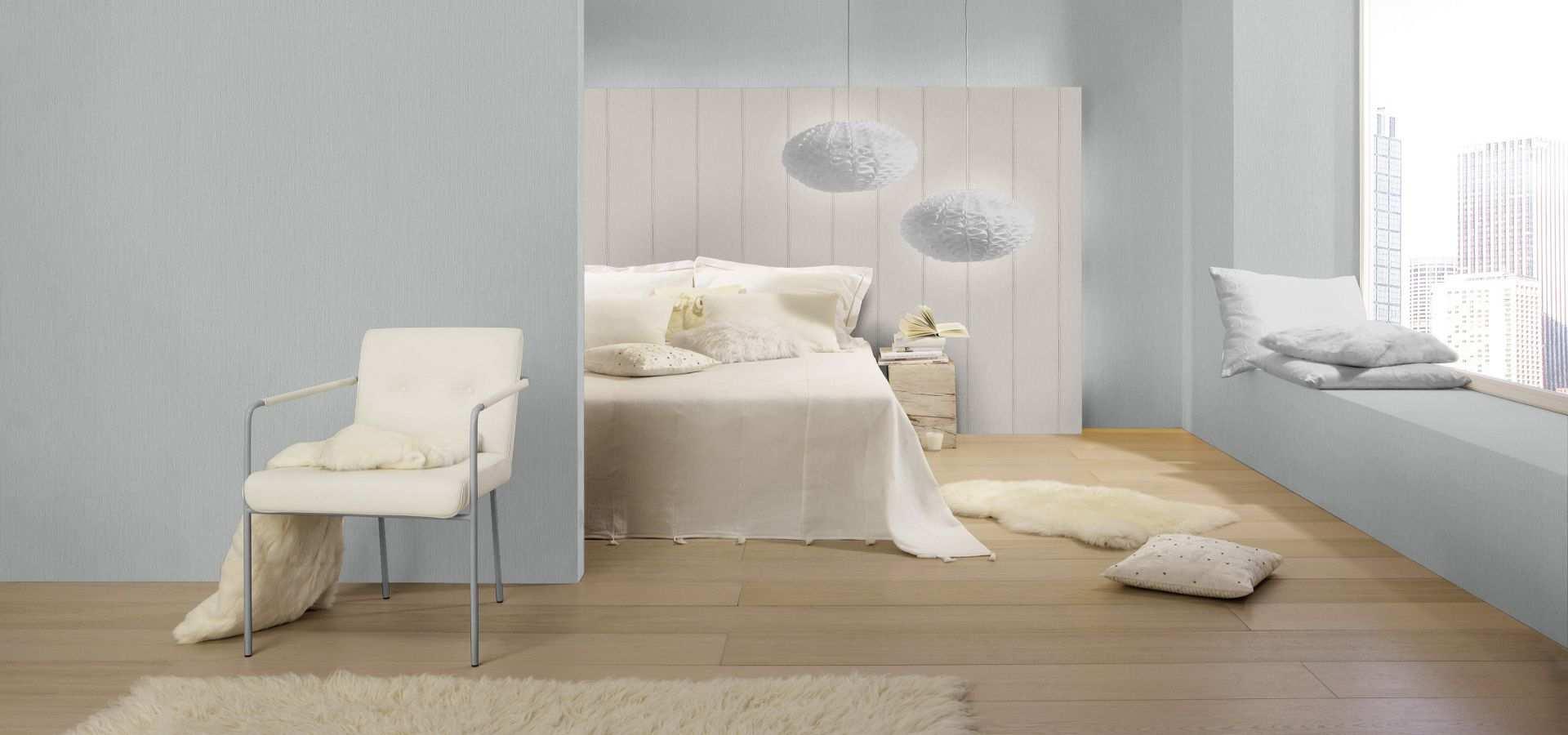 Bild Schlafzimmer Tapete grau weiß gestreift