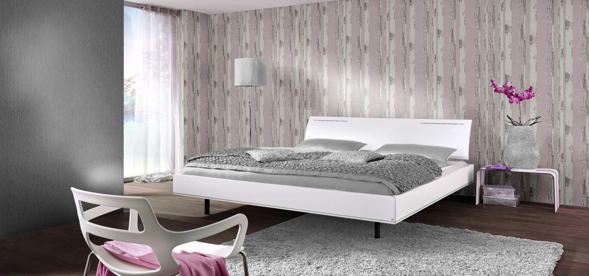 Schlafzimmer Tapete rosa silber