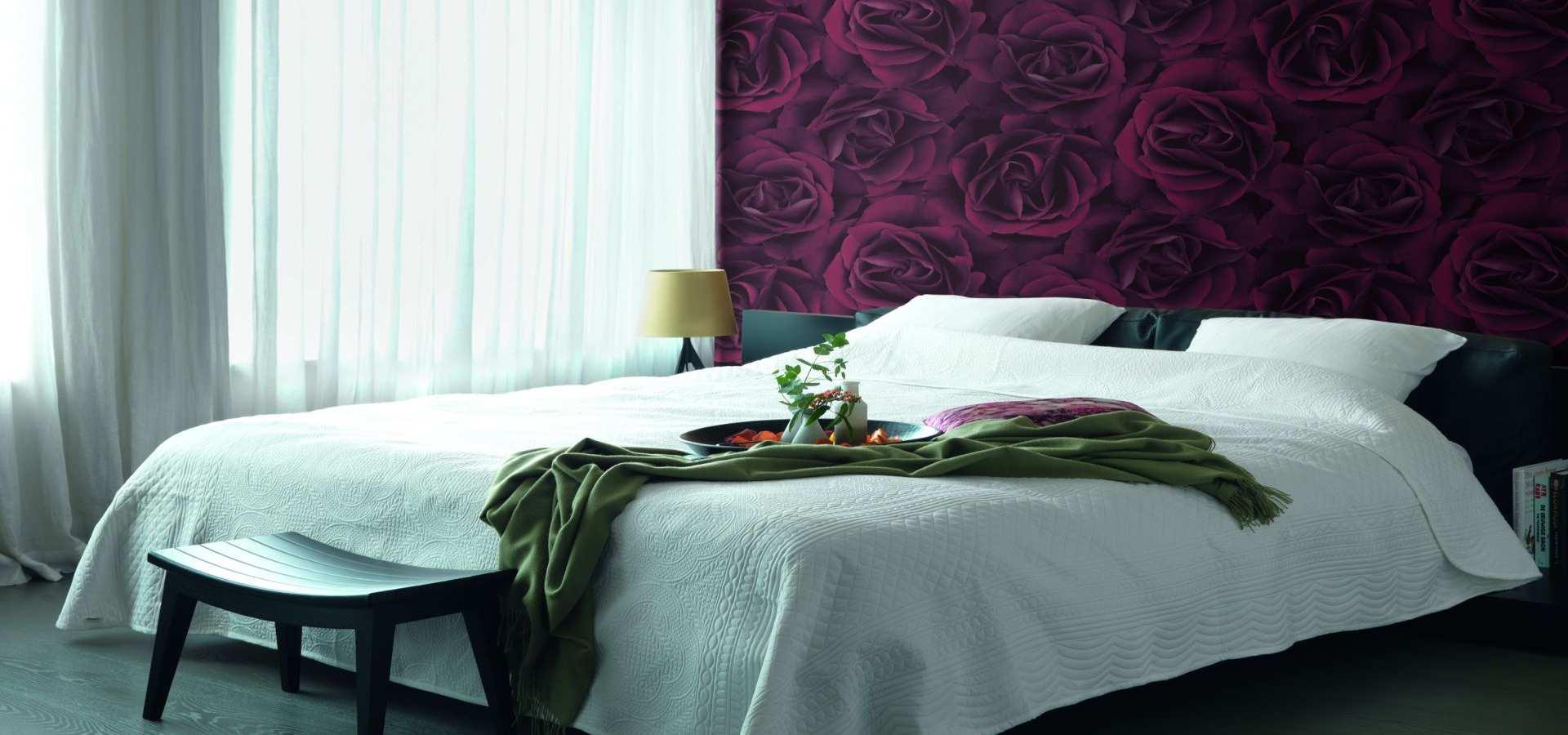 Bild Schlafzimmer Tapete rote Rosen