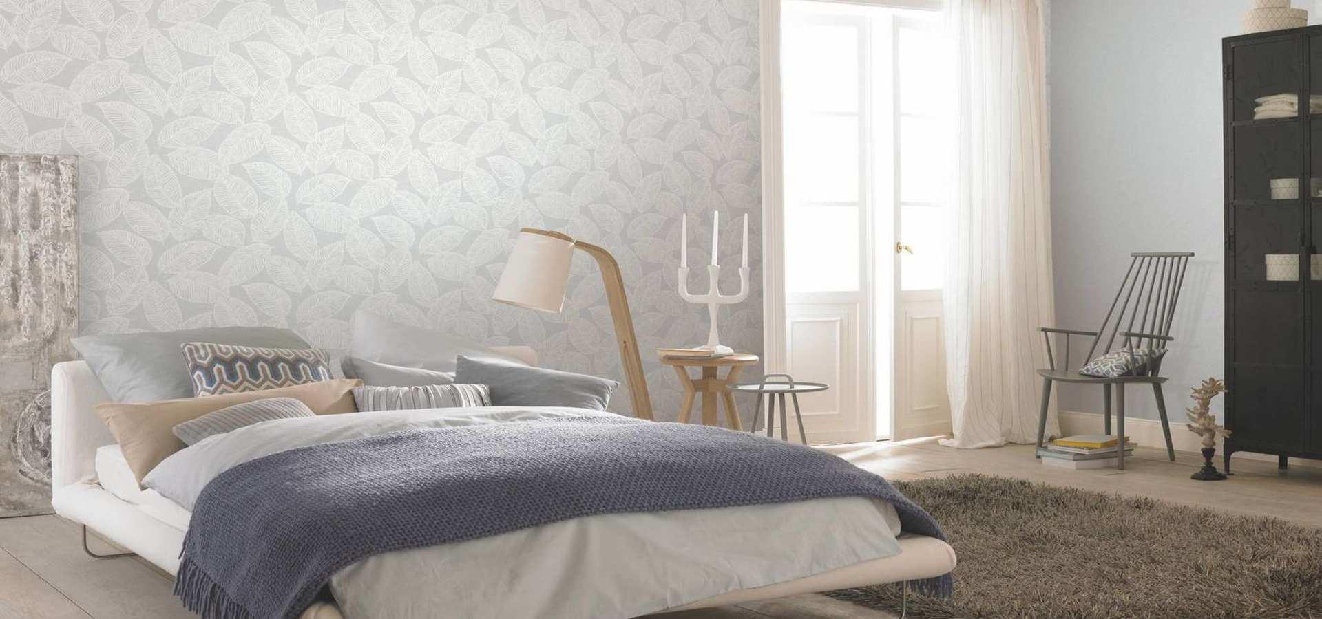 Bild Schlafzimmer Tapete Blätter weiß beige