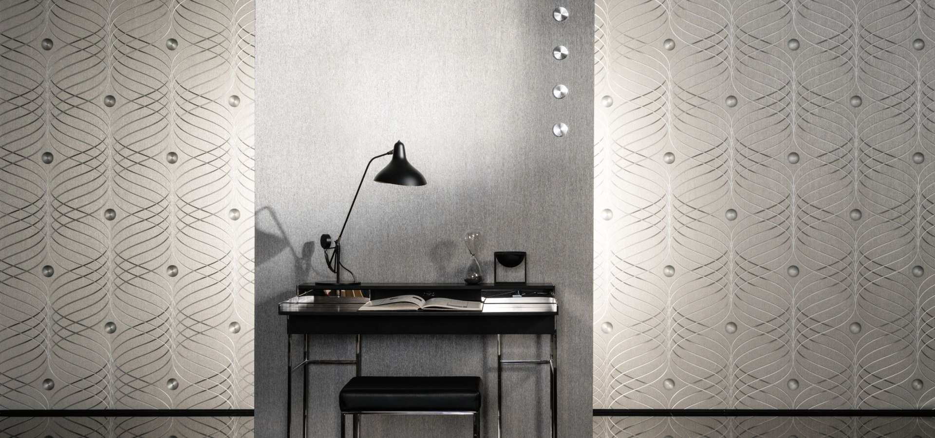 Bild Tapete silber im Büro