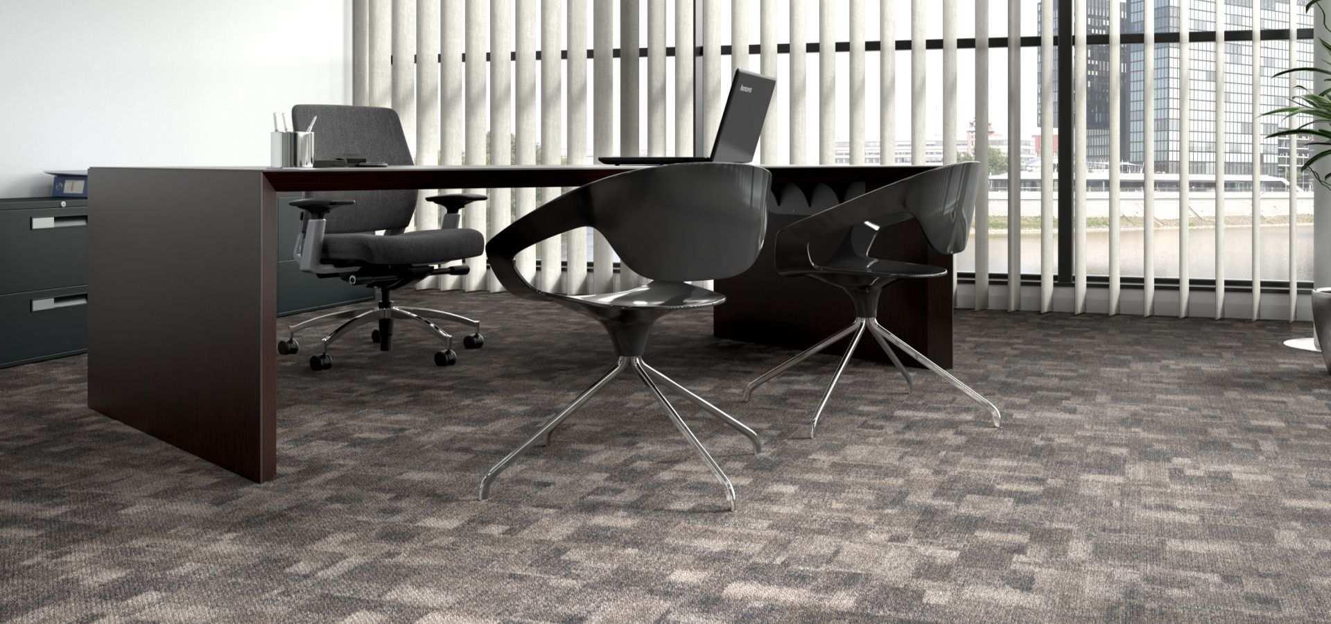 Bild Office Teppichboden Planke in Büro grau Patchwork