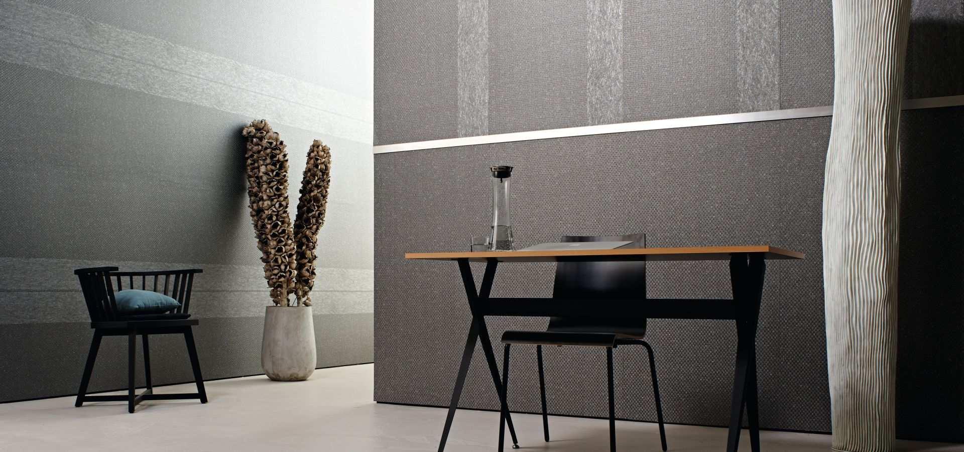 Bild Arbeitszimmer mit silberner Tapete Prestige