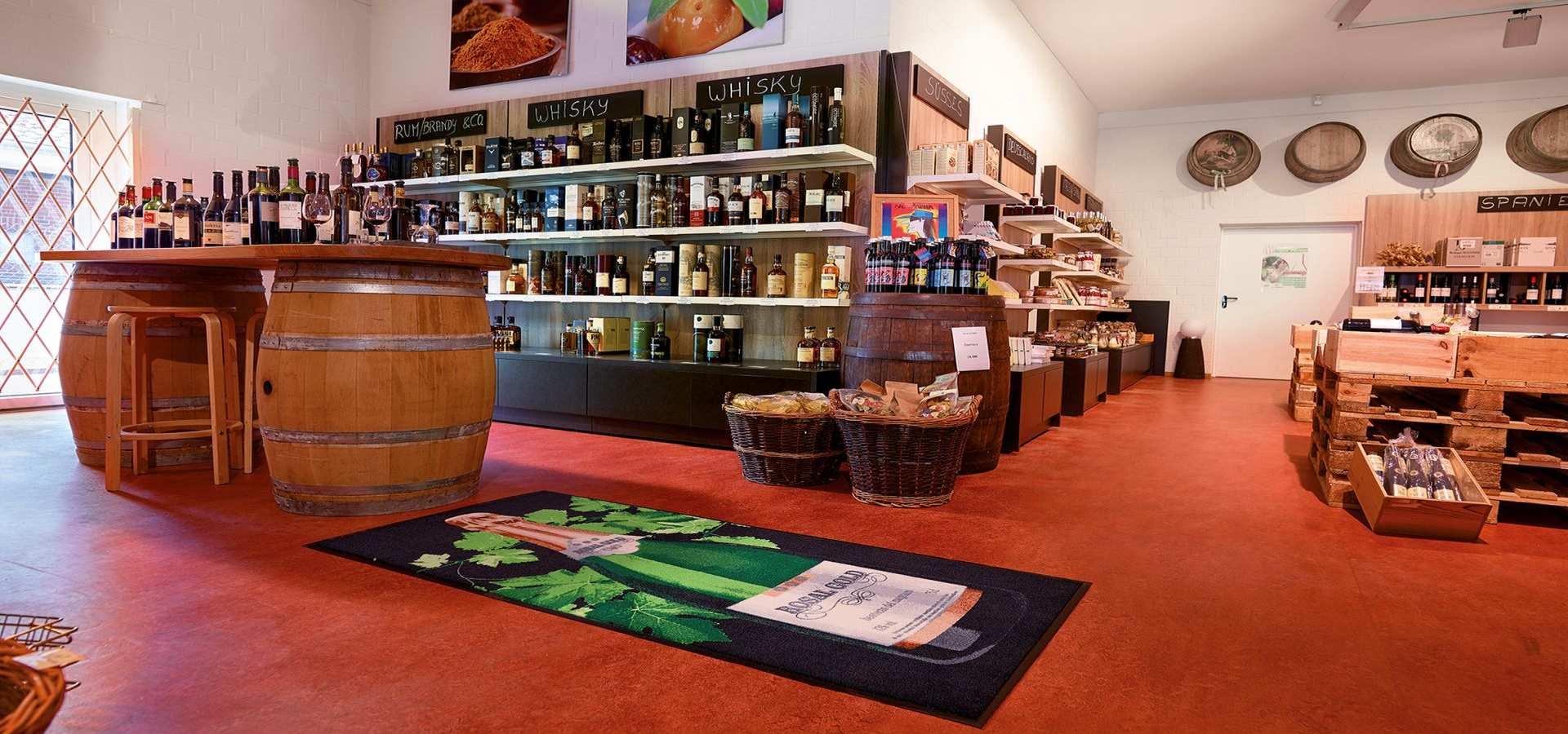 Sauberlauf mit Logoeindruck in Weinhandlung