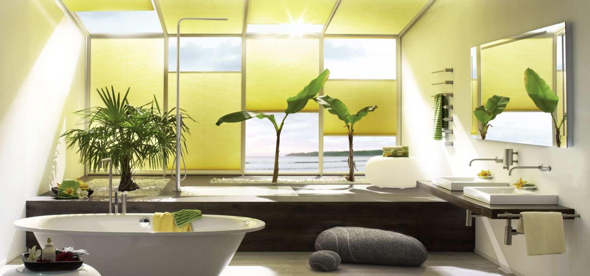 Bild moderne Bad mit Plissees Duette gelb
