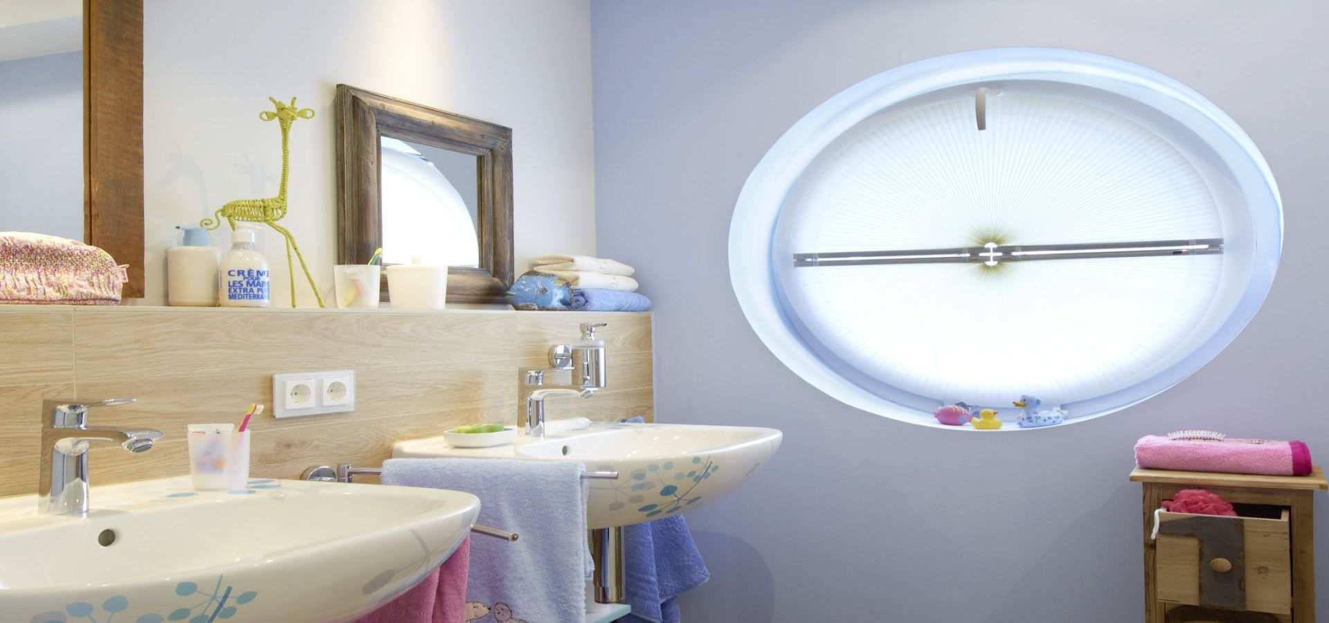 Bild Kinderbadezimmer Plissee rund