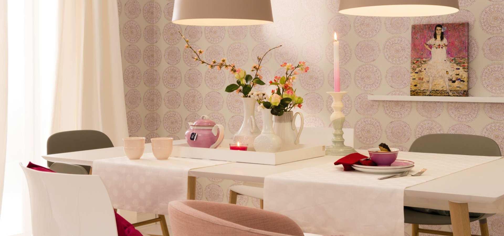 Bild Küche Tapete Ornament rosa