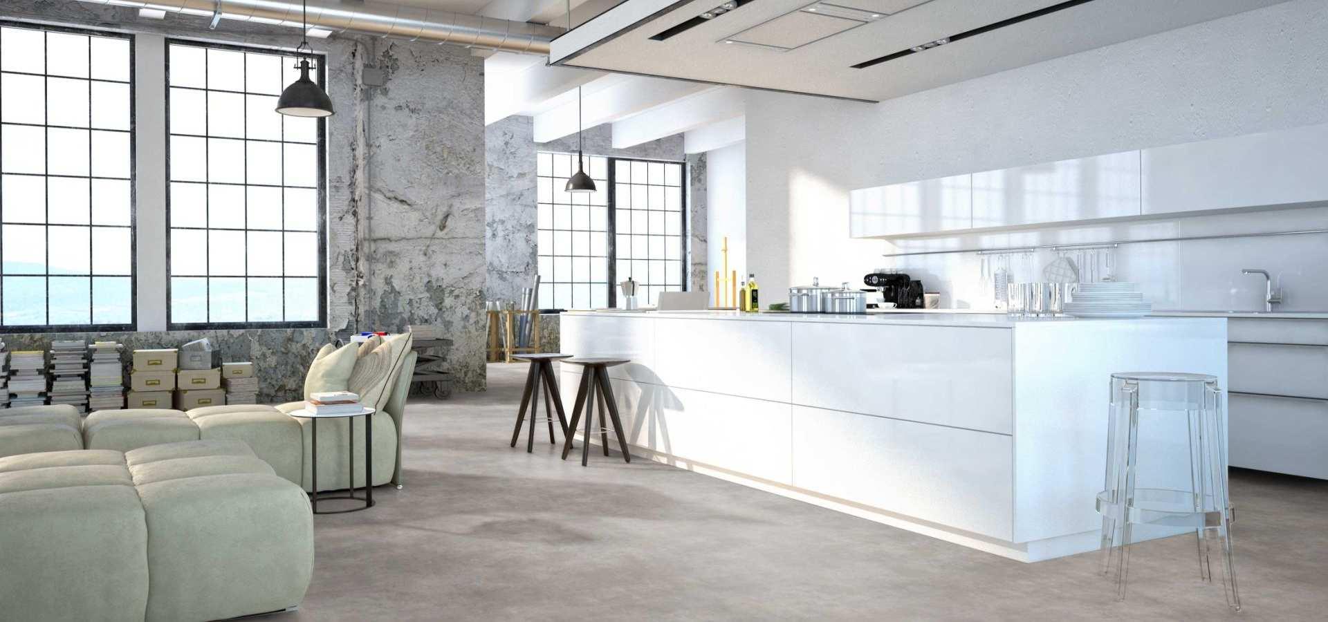 Bild Küche mit CV Belag betonoptik hellgrau