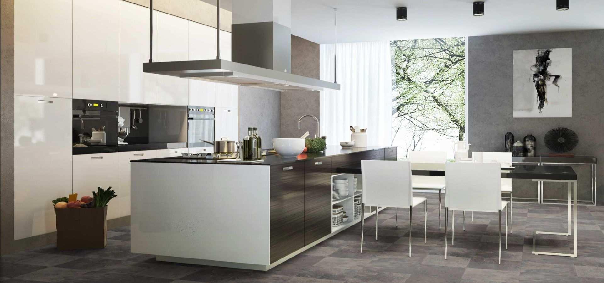 Bild Küche CV Belag Fliese Schachbrett grau beige