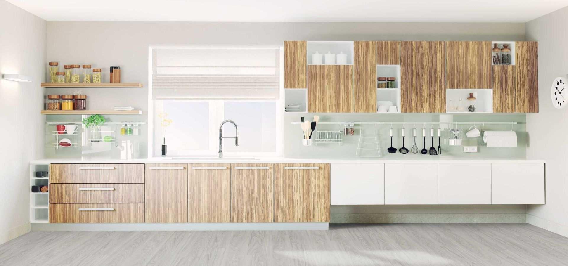 Bild Küche Vinylboden Holzoptik modern hell