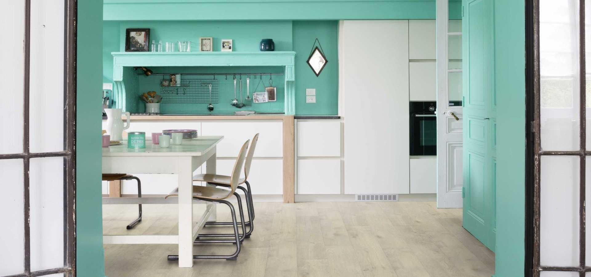 Bild Küche Vinylboden Eiche hell
