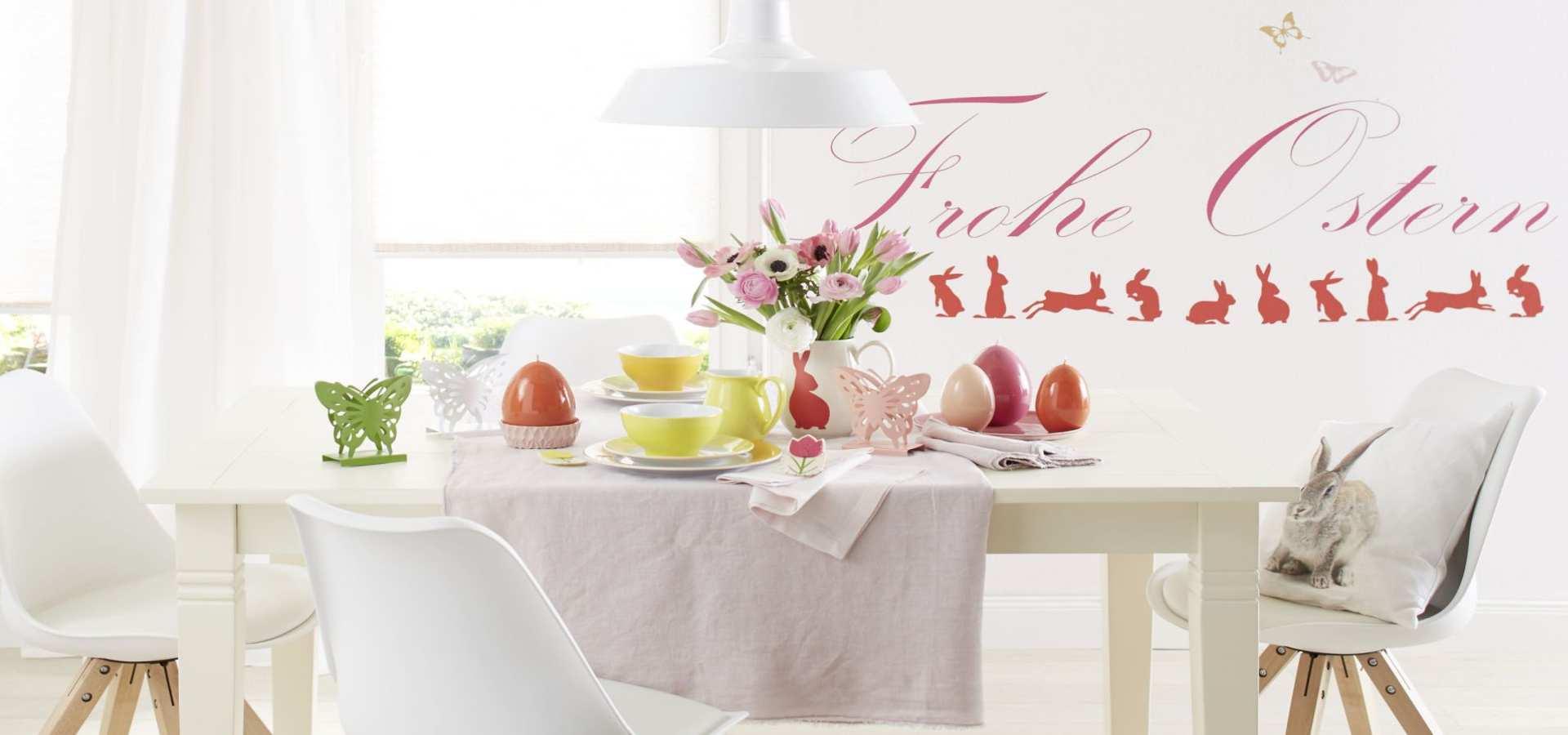 Bild Küche mit Plissees Frohe Ostern