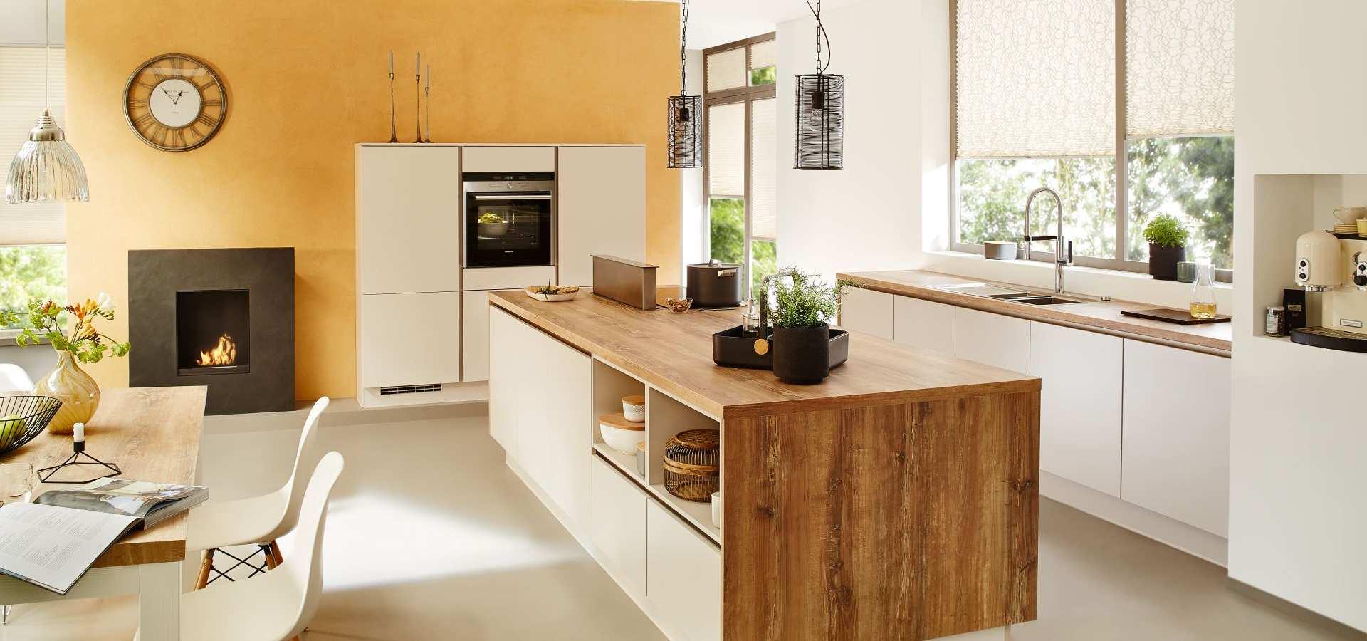 Bild Küche Plissees gelb