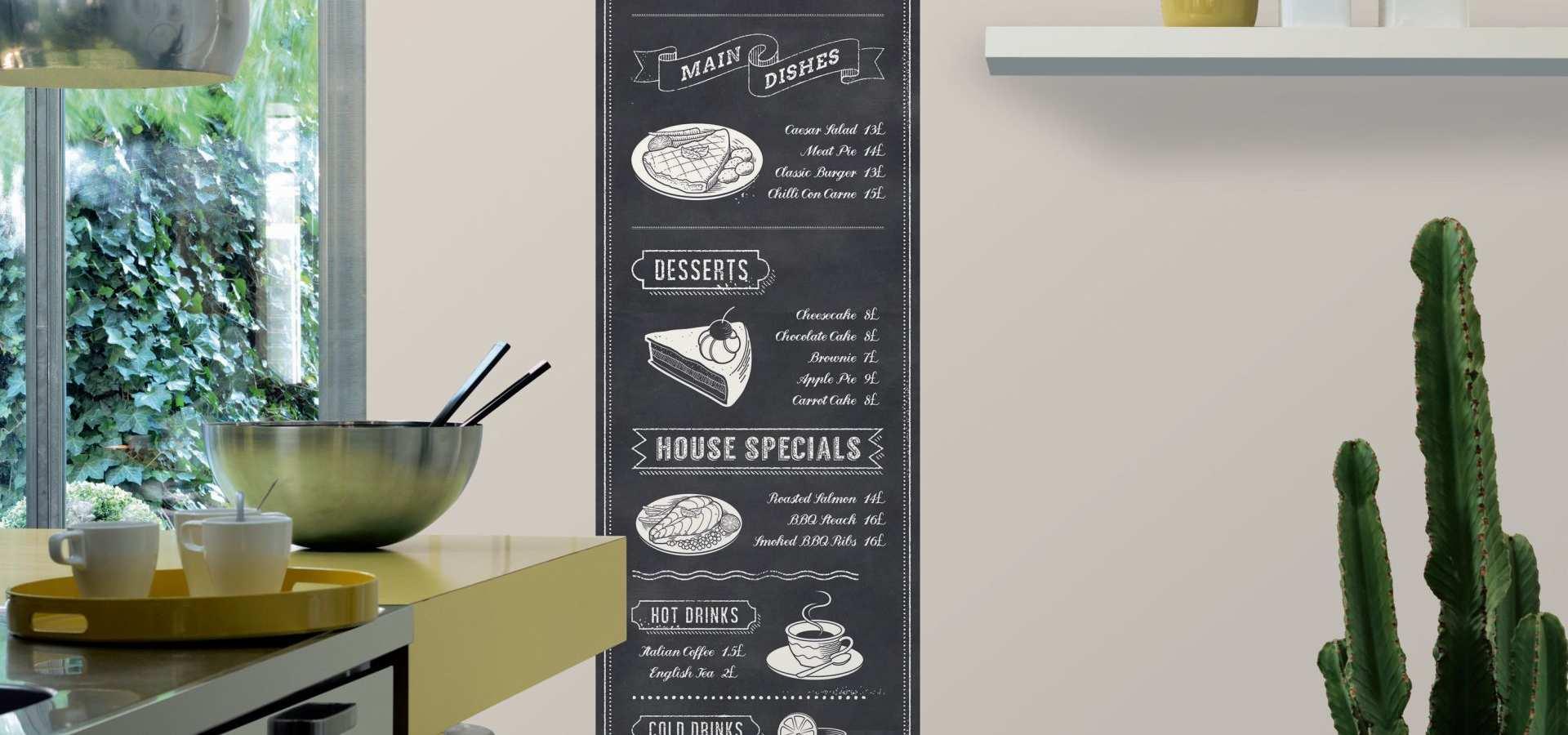 Bild Küche Tapete mit Menükarte schwarz weiss