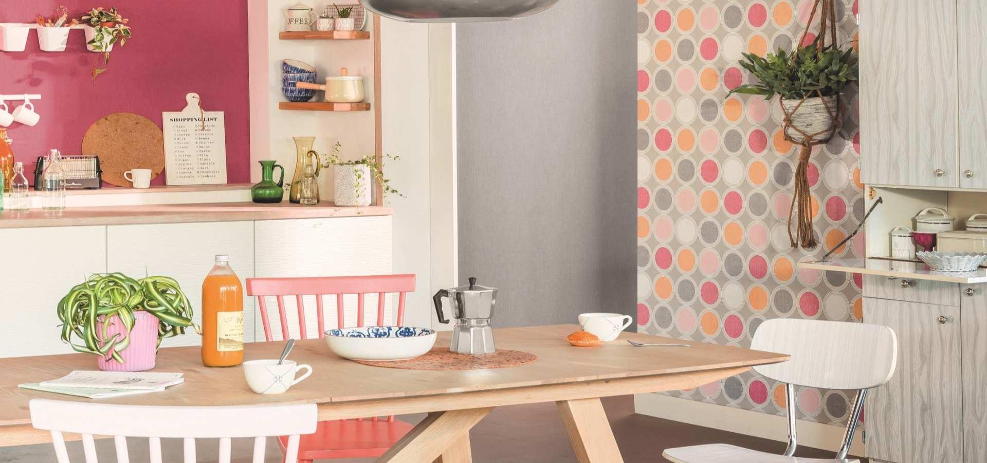 Bild Küche mit Tapete bunt
