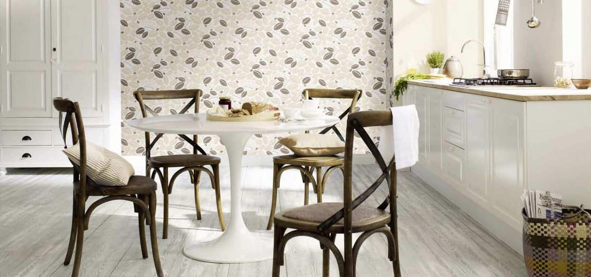 Bild Küche mit Tapete Kaffeebohne beige