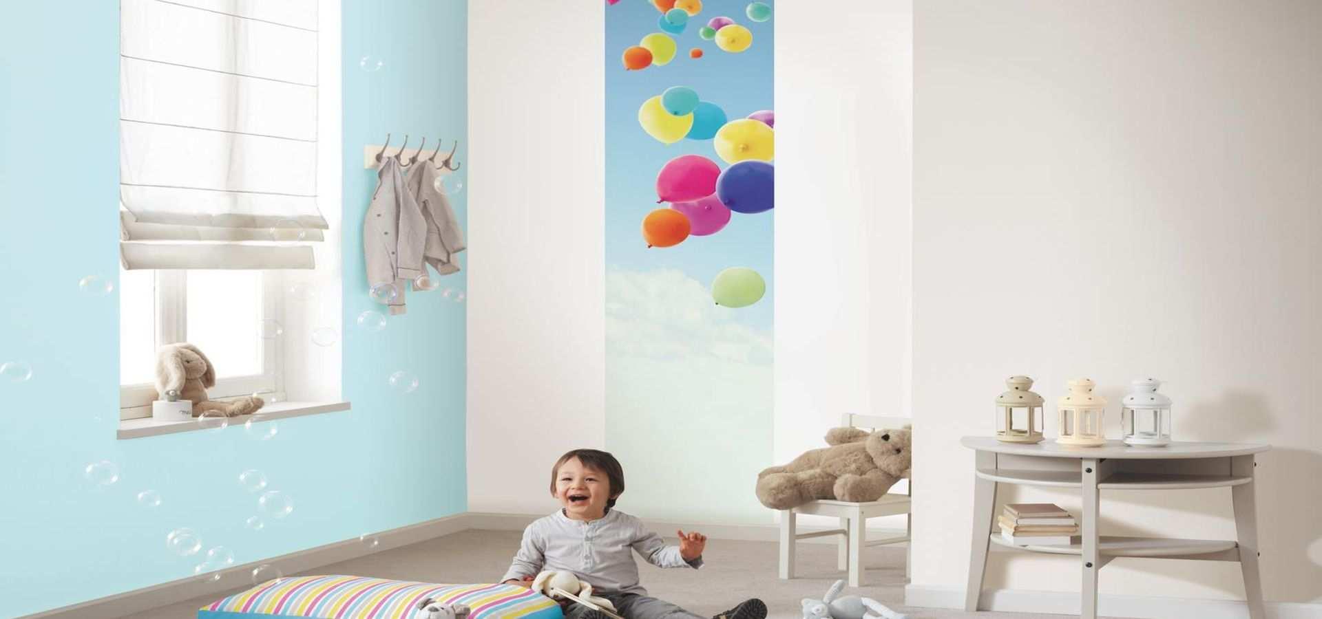 Bild Kinderzimmer Tapete fliegende Luftballons