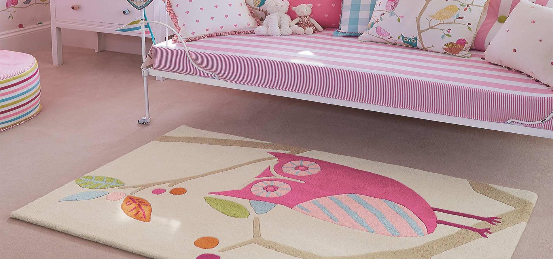 Bild Kinderzimmer Teppich mit Eule pink